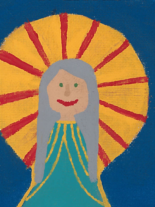 Stylized acrylic painting of Heavenly Mother