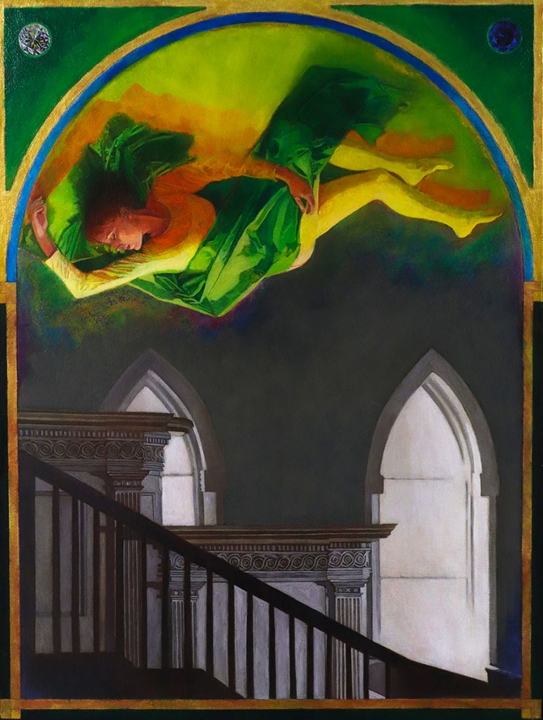 woman floating above staircase