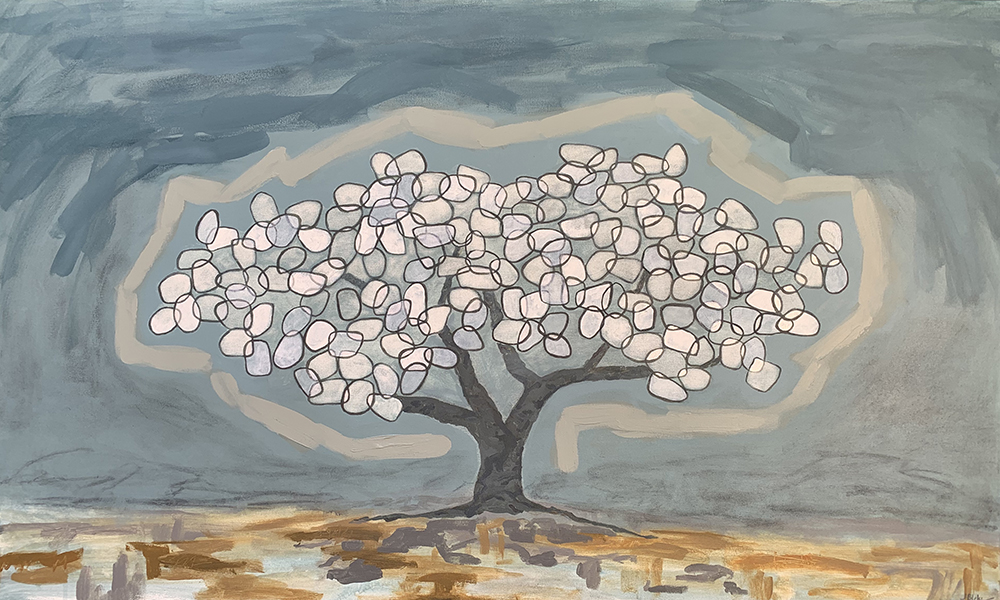 Painting of tree with white and grey leaves