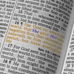 Open scriptures with feminine pronouns