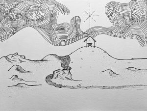 Line drawing of hills, stable with star above it and dark sky