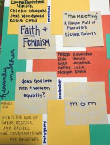 Patchwork of post-its with notes about faith and feminism