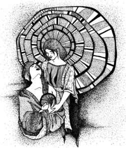 Heavenly Mother comforting Mary at the birth of Christ