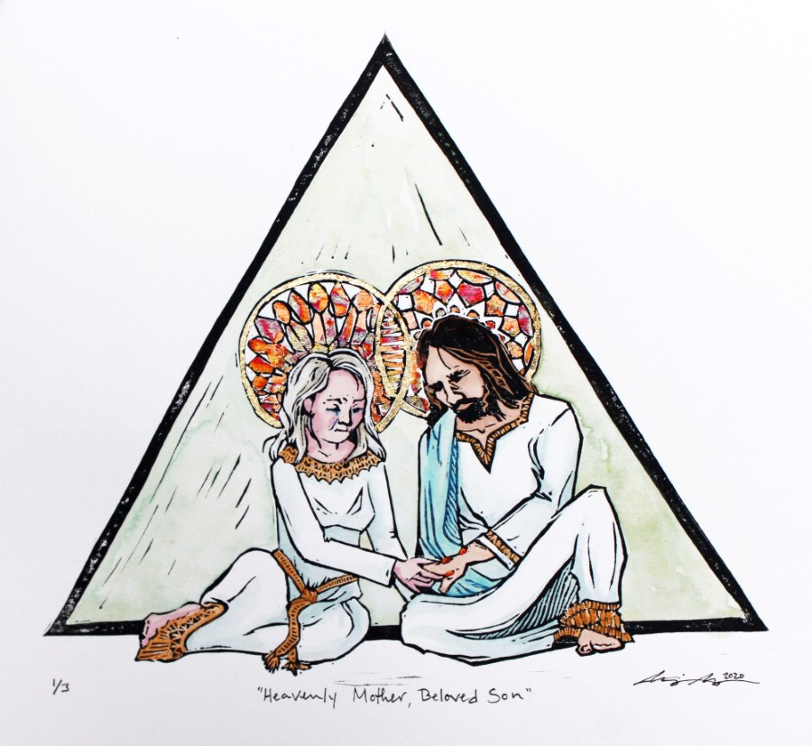 Heavenly Mother and Jesus Christ sitting in front of a triangle