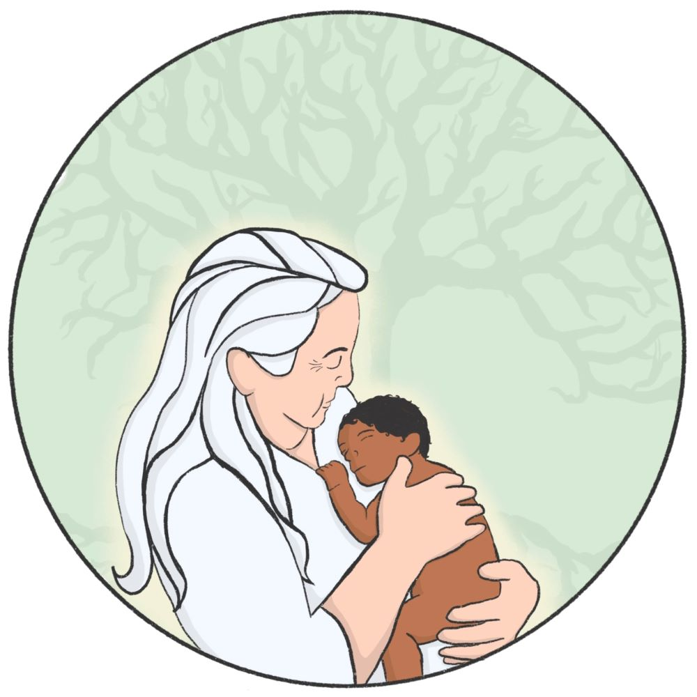 Woman with white hair holding small, brown-skinned baby