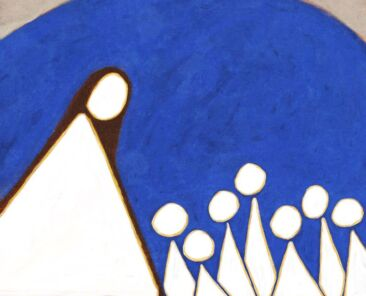 A collection of triangular figures looking towards a larger triangular figure.