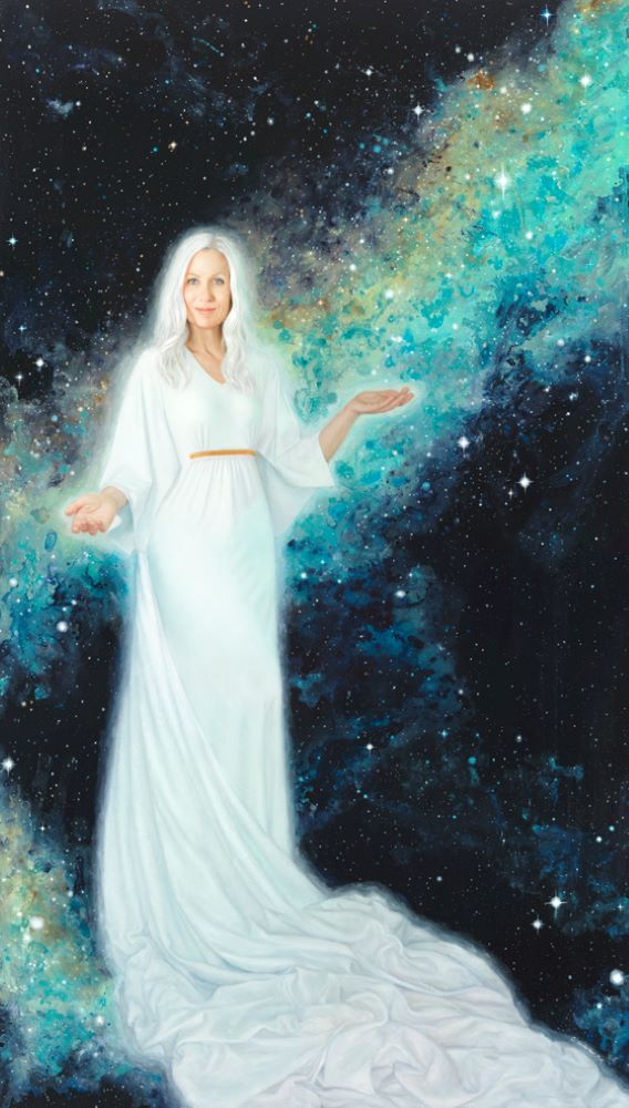 Woman in white with outstretched hands in front of night sky