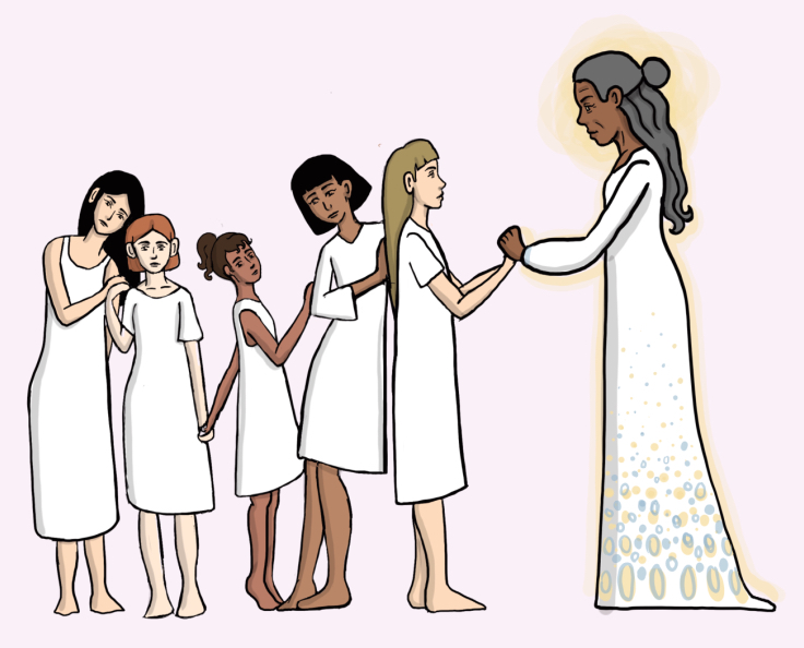 A line of women of different race in white dresses approaching a black woman in a white dress and halo