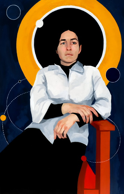 Woman in white lab coat and orange halo sitting on chair