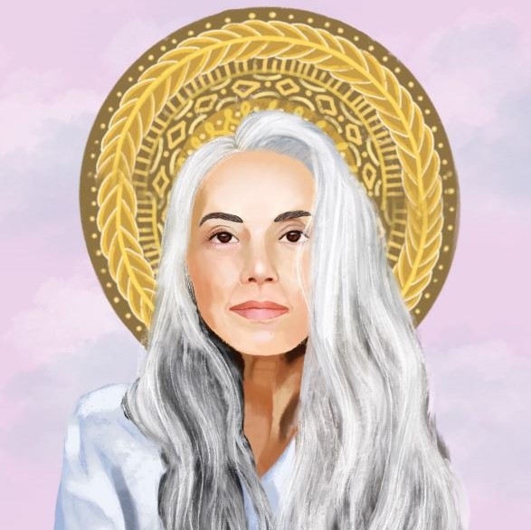 White woman with grey hair and golden halo looking directly at the viewer