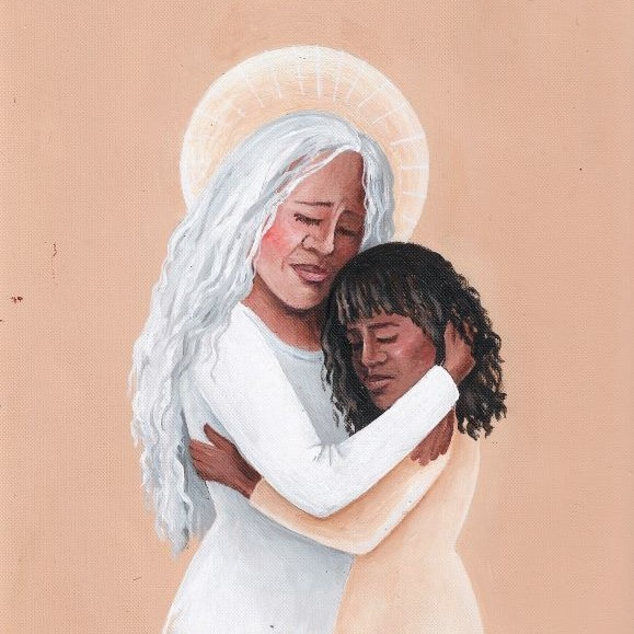 White haired woman hugging girl