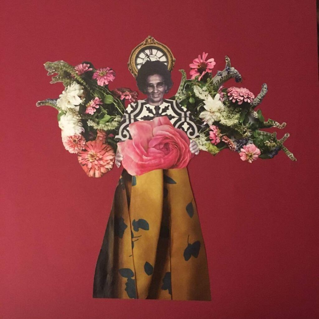 Collage of indigenous woman in yellow dress holding flowers