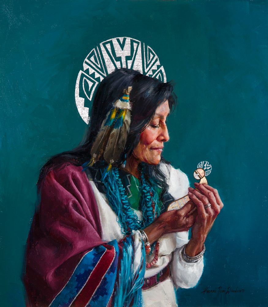 Indigenous Heavenly Mother welcoming a small spirit home
