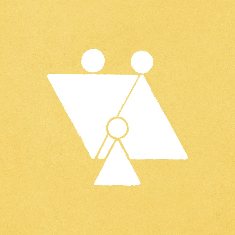 Yellow background with two triangular figures representing Heavenly Parents and a smaller triangular figure in front