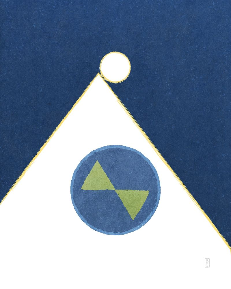 White triangle representing Heavenly Mother behind earth