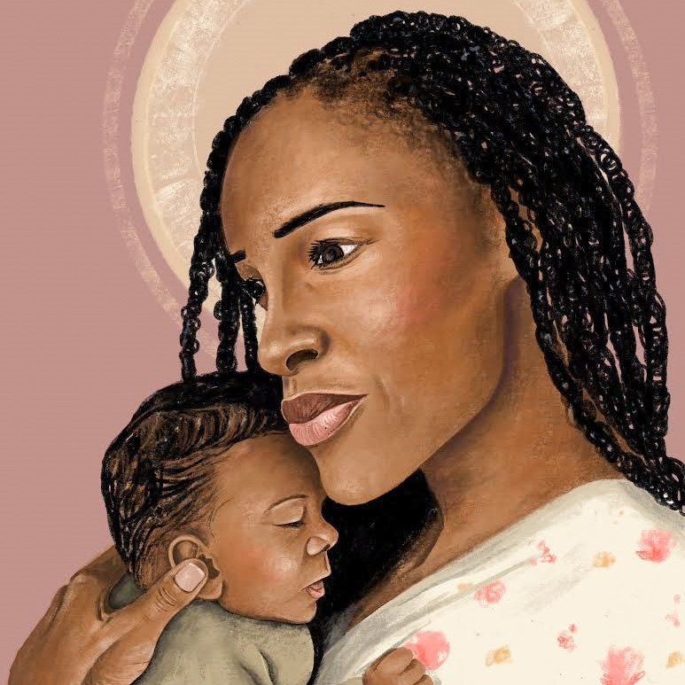 Black Heavenly Mother with halo holding Black baby