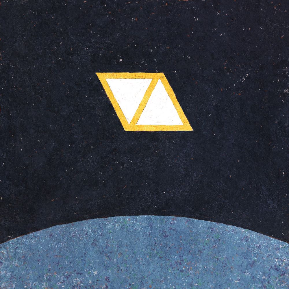 Two white and yellow triangles in front of dark blue backgroud