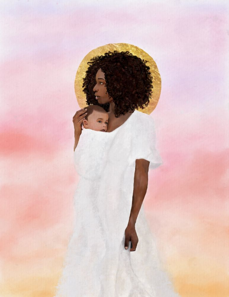 Black Heavenly Mother holding infant to her chest in front of pink and yellow sky