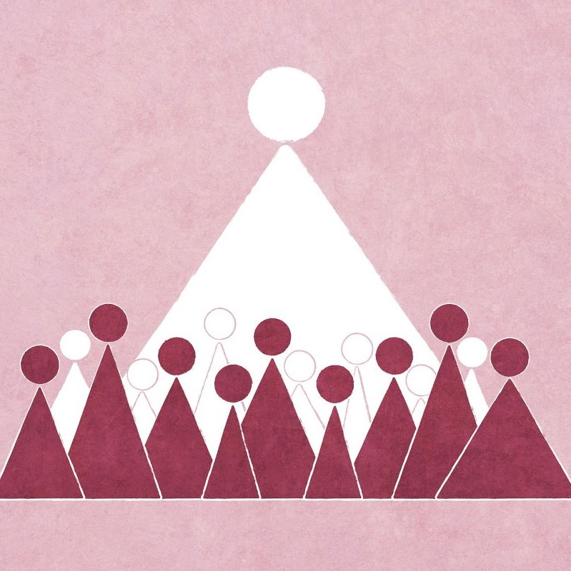 Small burgundy triangular figures in front of a row of white figures and a large white triangular figure