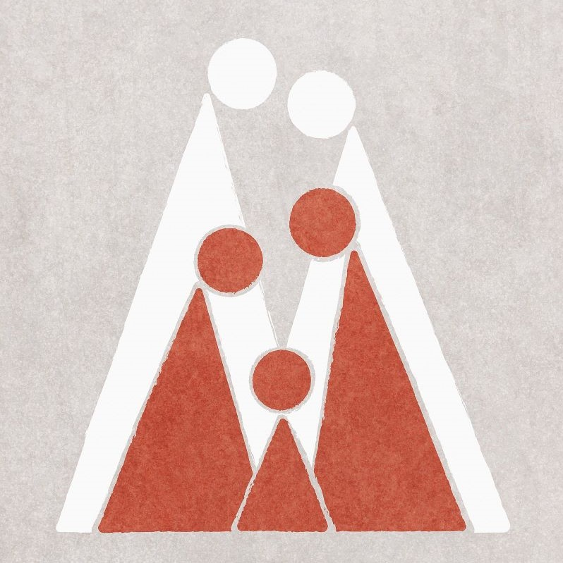 Red triangular family in front of white triangular couple