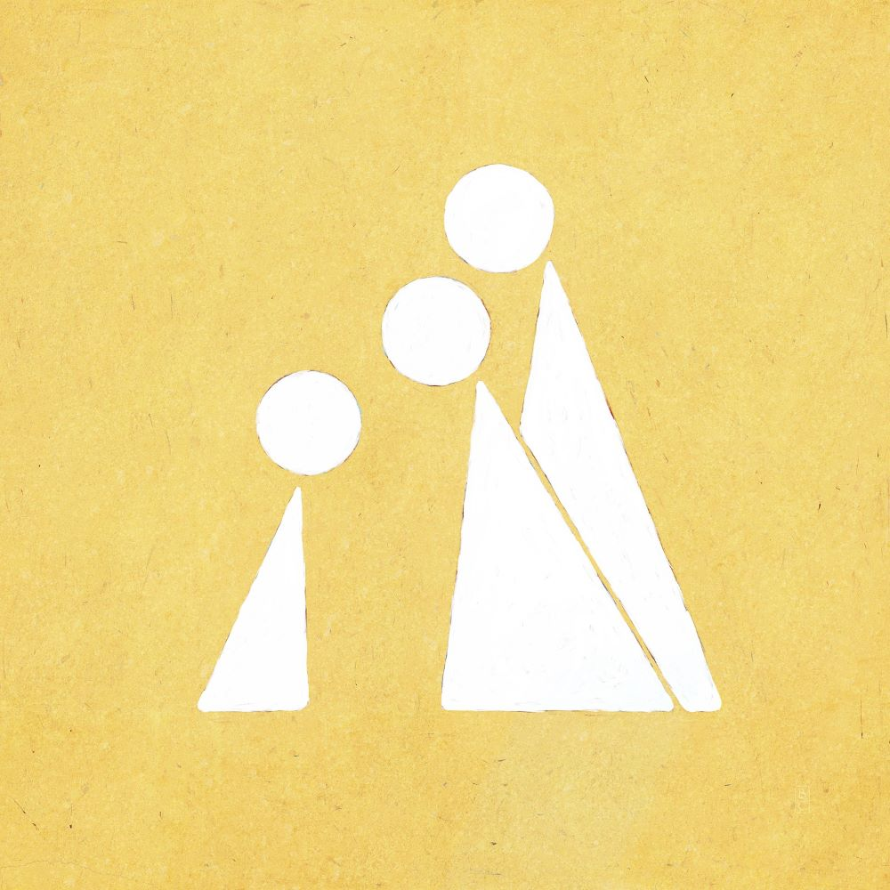 small triangular person being greeted by two larger triangular people