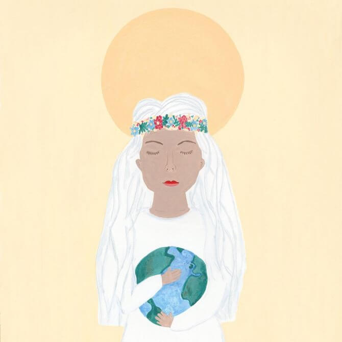 Drawing of woman holding earth in her hands