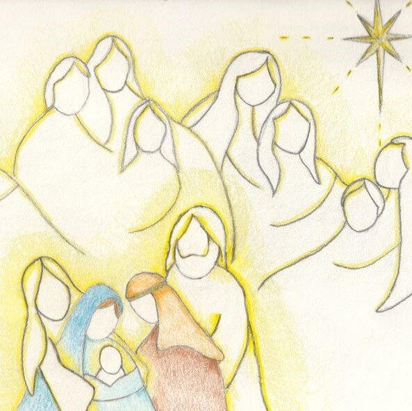 Pencil drawing of nativity scene and a group of angels