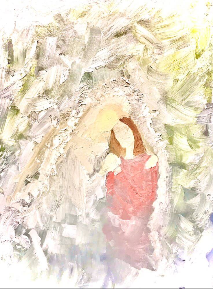 Abstract painting of woman in white hugging woman in red dress