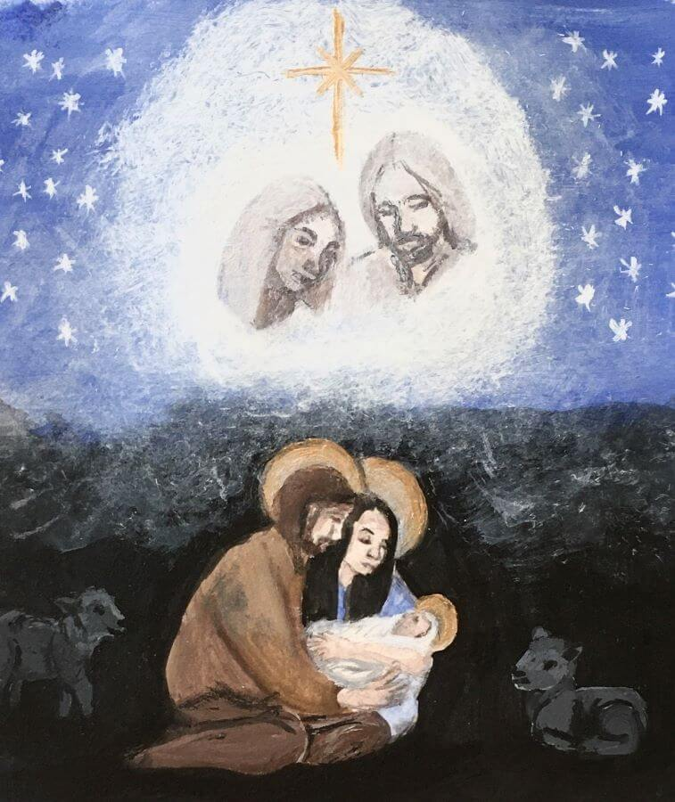 The faces of Heavenly Parents appear with a star over Joseph, Mary, and baby Jesus.