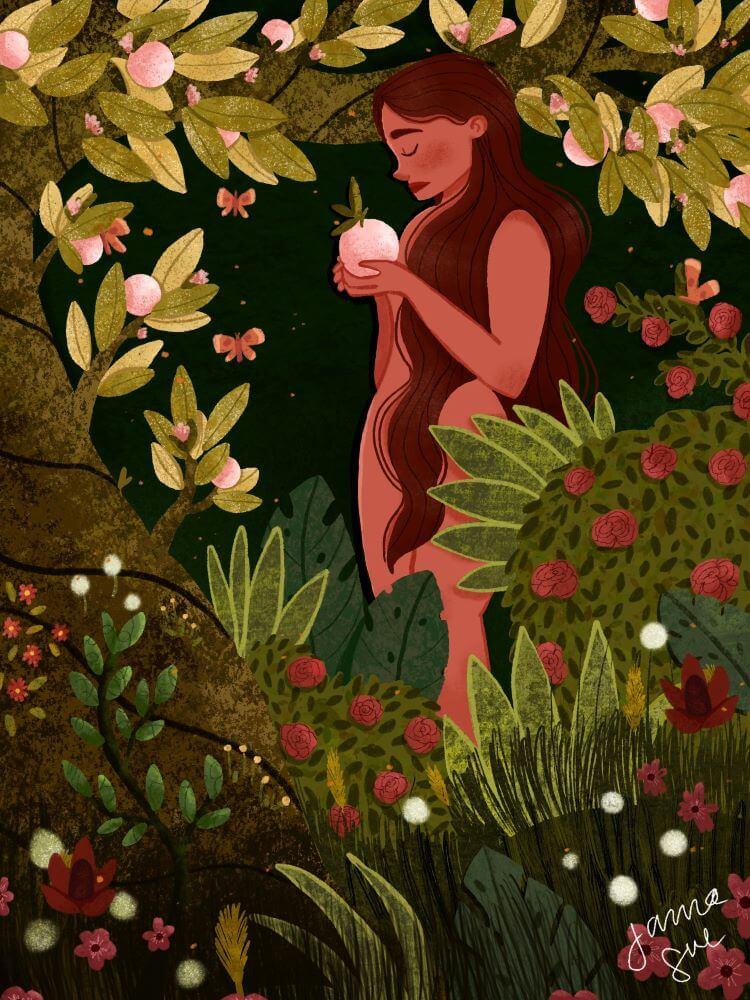 Nude woman holding pink fruit standing among plants