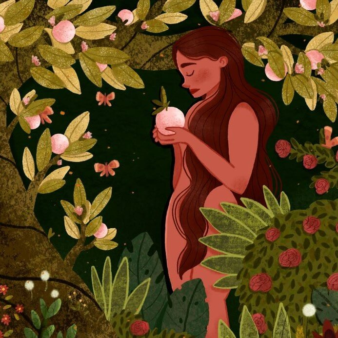 Nude woman holding pink fruit standing among plants