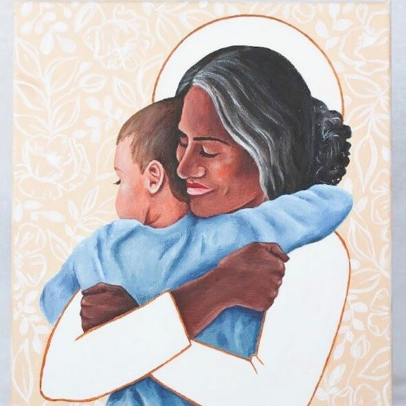 Black woman with white halo hugging young Black boy