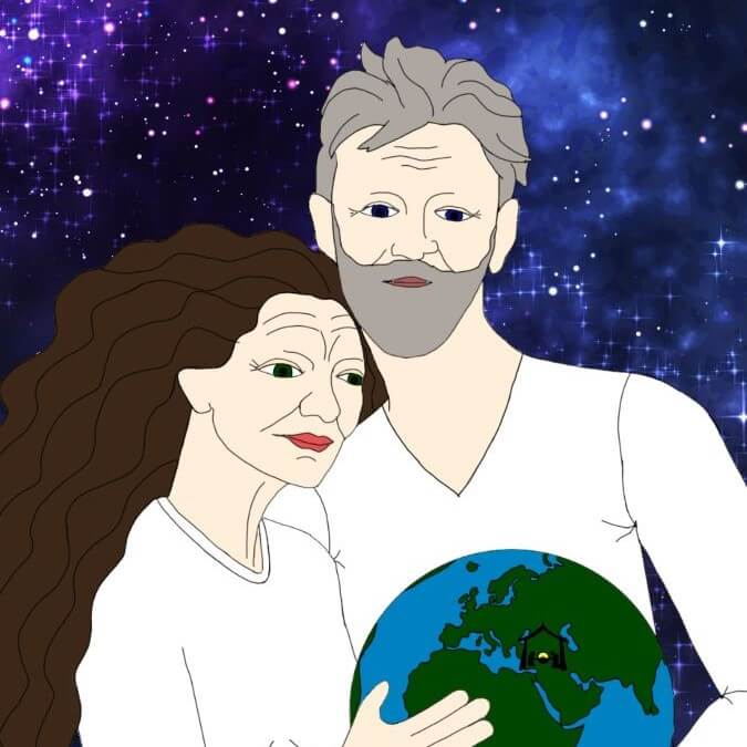 Two people dressed in white holding earth with nativity scene in front of backdrop of stars.