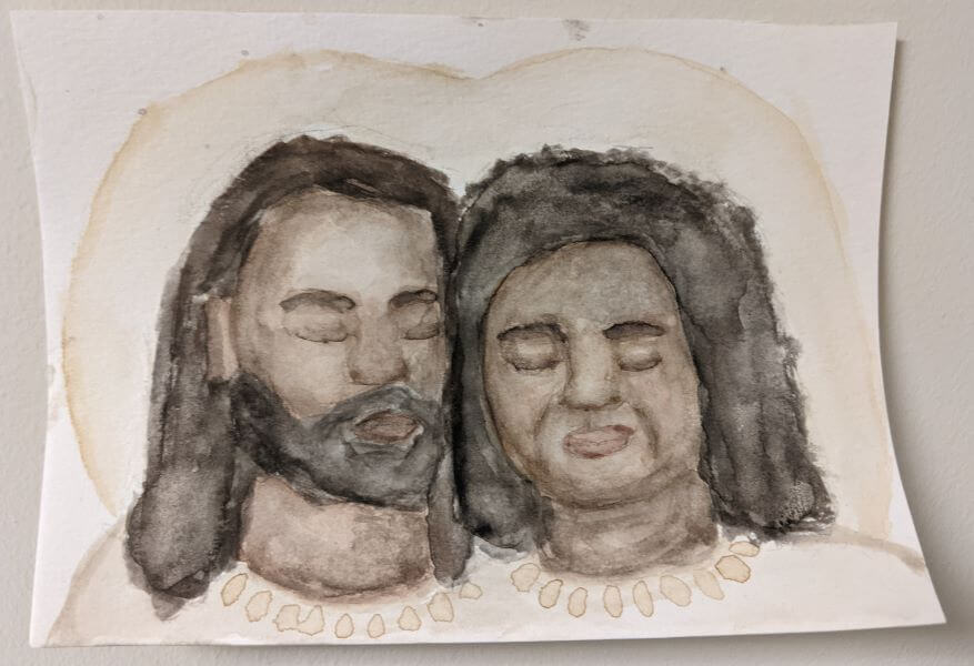 Gray watercolor painting of man and woman with halos