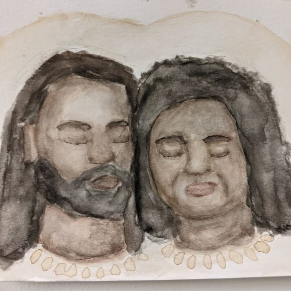 Gray watercolor of a man and woman with halos