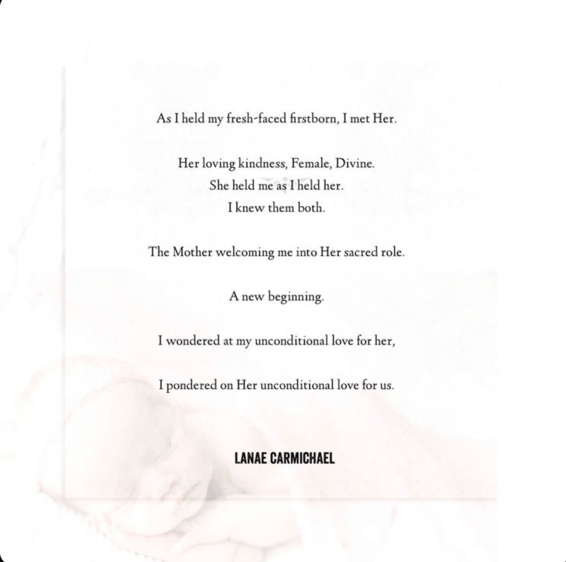 Image of the poem text overlayed on a photo of a newborn