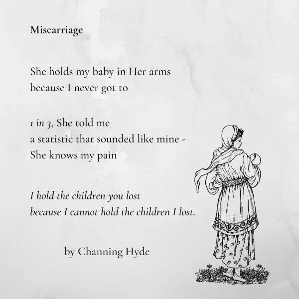 Photo of printed poem with sketch of woman holding infant, her back to the viewer