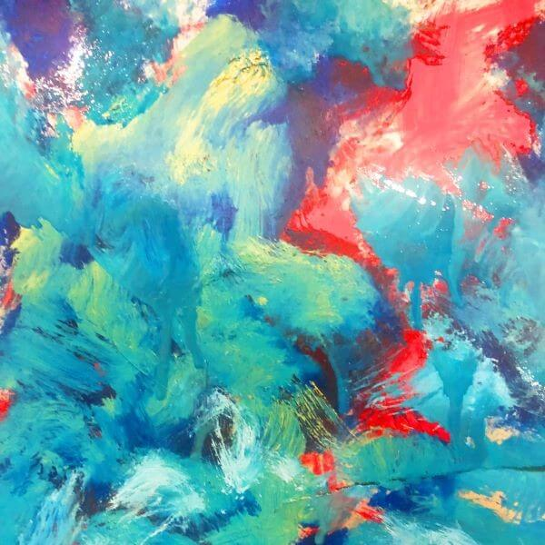 Abstract blue, red, green, and yellow brush strokes