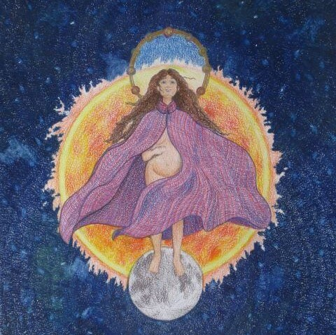 Pregnant woman in purple cloak stands on the moon, one hand on her stomach. Behind her is the sun and dark blue sky.